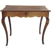 Early 19th Century French Provincial Walnut Side Table Cabriole Legs Lift Top