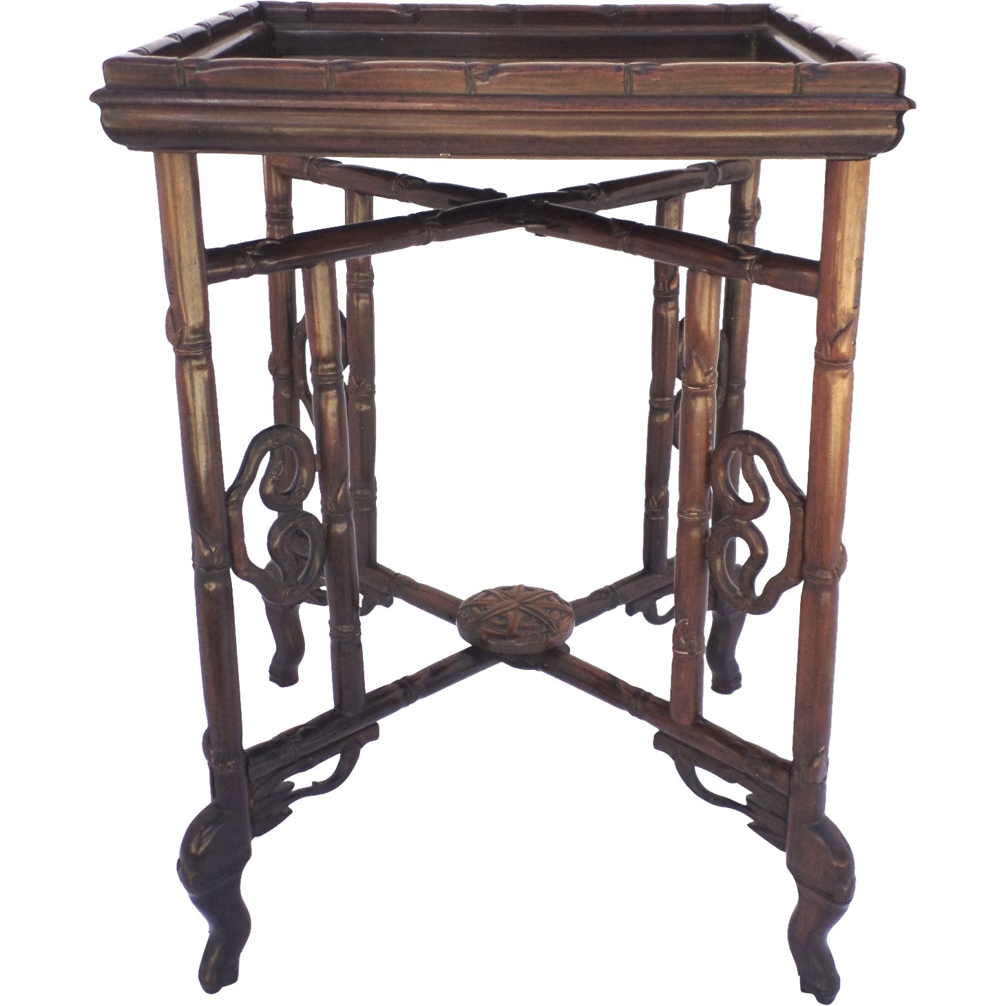 Chinese Rosewood Folding Tray Table 19th Century Bamboo