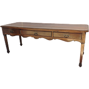 French Fruitwood Three Drawer Table Sideboard Library Table