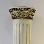 Neoclassic Painted and Gilt Display Pedestal Fluted Column 19th Century