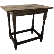 English Oak Box Stretcher Base Turned Country Side Table 19th Century
