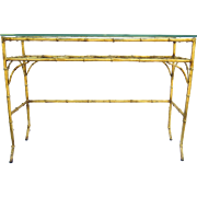 Vintage Hollywood Regency Faux Bamboo Gilt Table