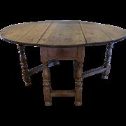 English Oak Turned Leg Gate-leg Table 18th Century Country Farmhouse