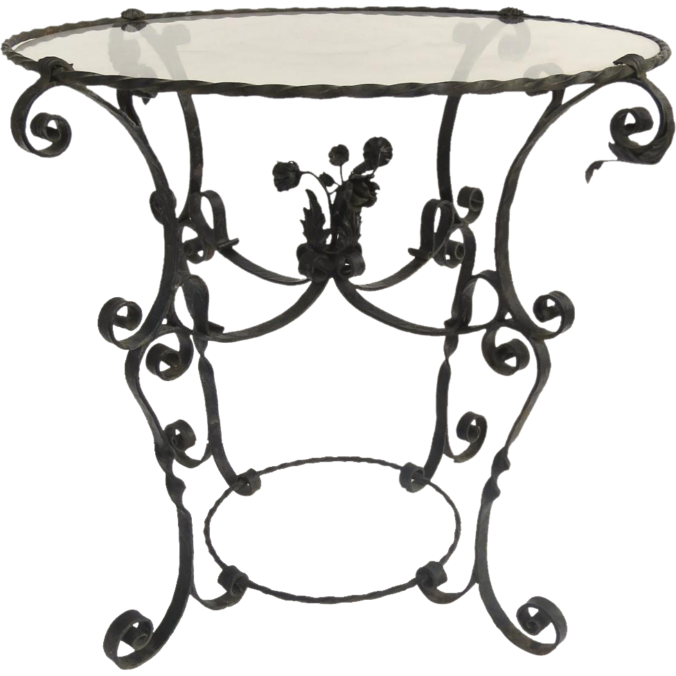 Vintage Garden Glass Top Wrought Iron Table with Center ...