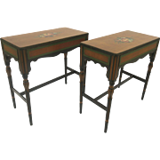 Pair of Vintage Painted Century Furniture Co, Grand Rapids Side Tables Narrow (1940's)