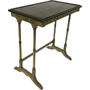 Table by David Zork Co. Rectangular with Japanned Birds, Chrysanthemum, and Bamboo Motif