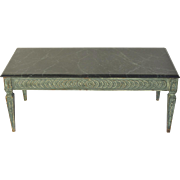 Mid Century Italian Carved and Painted Coffee Table Marble Top