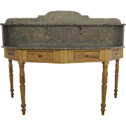 European French Marble Top Half Octagon Bakery Table with Three Drawers Sink