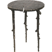 Vintage 1993   Side Table Oxidized Aluminum Natural Wood and Branches Motif