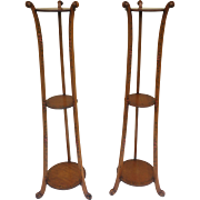 Pair of Edwardian Satinwood Painted Plant Stands Neoclassical Manner of Robert Adam