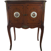 1900's French Two Door End Night Table with Porcelain Plaques Ormolu Mounts