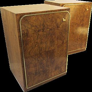 Vintage Thomasville Burlwood and Walnut Pair Cabinets Nightstands