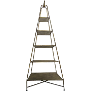 Mid-Century Italian Pyramid Five-Shelf Obelisk Etagere Gold Metallic