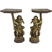 Early 18th Century Pair Italian Carved Wood Figural Altar Brackets Pedestals Side Tables