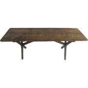19th Century European Trestle Table X-Shaped Legs