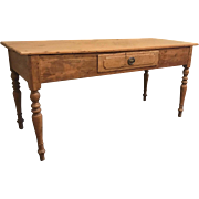 19th Century Gustavian Pine Writing Table Desk with One Drawer Turned Legs