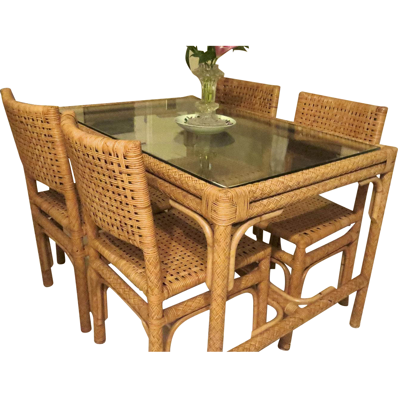 Vintage Mid Century Woven Cane Table And Four Chairs