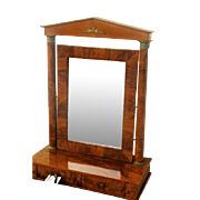 French Empire Dressing Mirror Flame Grain Mahogany 19th Century