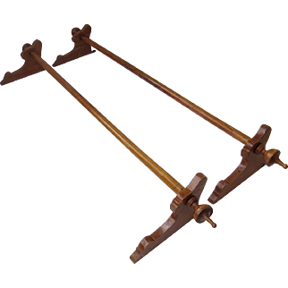 Set of Two Walnut Wood Curtain Rods, Brackets and Finials