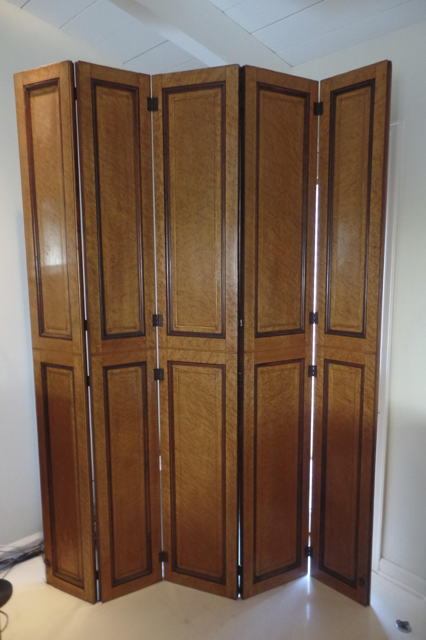 Hinged Room Dividers : Bird s eye maple hinged screen room divider quot by