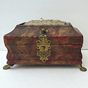 English Marbleized Leather Sewing Casket Box Brass Paw Feet