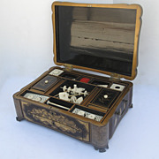 Chinese Black Lacquered Sewing and Writing Box.