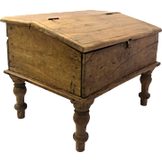 Rustic Primitive Box on Turned Legs Early 20th Century
