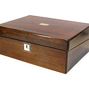 English Rosewood Writing Box With Inlay Mother of Pearl and Silver Line.