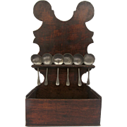 Early English Pipe or Spoon Holder Rack with Shaped Top