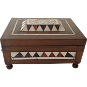Vintage Walnut Box Inlaid Shell Incised Face