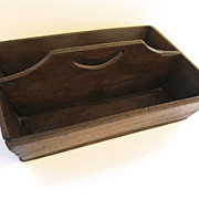 Large Walnut Cutlery Box with Cut Out Handle