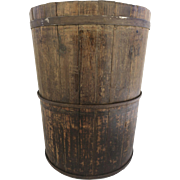 Late 19th Century European Wood Bucket with Iron Straps