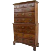 American Walnut Narrow Chest on Chest Cabinet Drawers Provincial Country