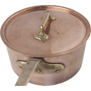 "Vintage 'Bazar Francais' New York Copper Saucepan 8 1/4"" with Lid Culinary"