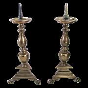 Pair of Dutch 17th Century Pricket Candlesticks