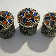 Middle Eastern Artisan Crafted Metallic Enamel Pill Boxes
