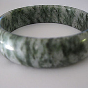 Dark Green and White Stone Bangle