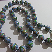 "Vintage Powder Blue Chinese Ceramic Plum Blossom Bead Necklace 24"""