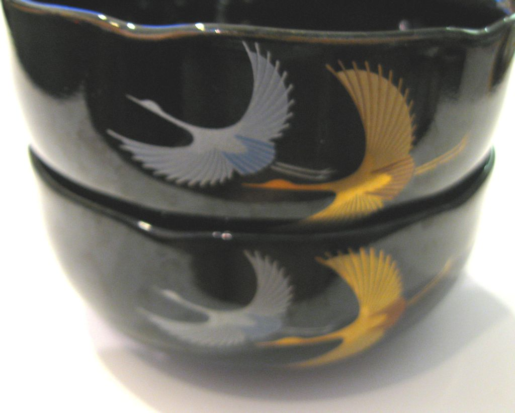 Glossy Black Japanese Ceramic Bowls of Flying Cranes