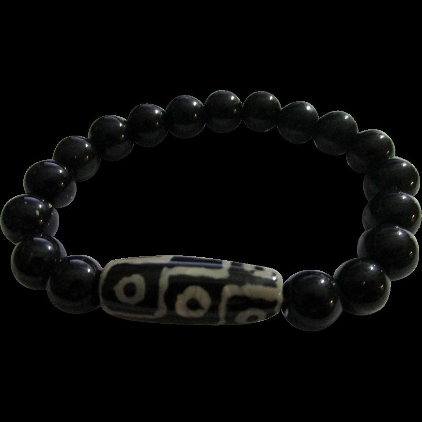 dzi bead expandable bracelet from rubylane sold on ruby