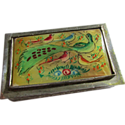 Vintage Persian Silver Mother-of-Pearl Painted Peacock Pill Box