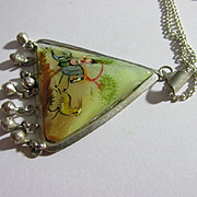 """Vintage Persian Hand Painted Triangular Mother-of-Pearl Pendant with 20"""" Silver Tone Chain"""
