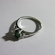 Vintage 14K White Gold Setting Emerald and Diamond Ring Size 5.5