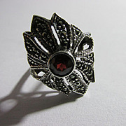 Vintage Marcasite with Garnet Stone Ring Size 7