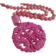 Chinese Double Dragon and Happiness Amulet with Rhodochrosite Bead Necklace, 19""