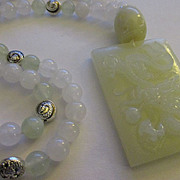 """Chinese Jade Dragon with Mystical Pearl Amulet and Jade Bead Necklace, 22"""""""