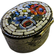 Vintage Handcrafted Italian Mosaic Engraved Mini Pillbox
