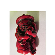 Chinese Red Snuff Bottle of an Old Chinese Fisherman