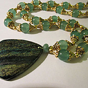 Seraphinite Pendant with Green Aventurine Bead Necklace, 32""