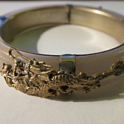 Chinese Lavender Glass Bangle with Silver Tone Dragon and Phoenix Charms